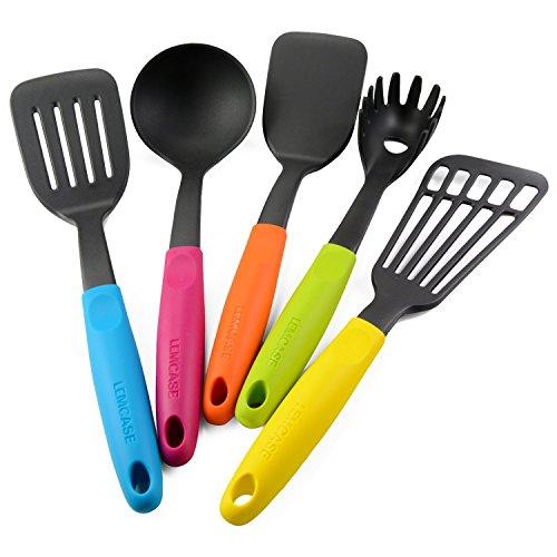 LEMCASE Utensilios De Cocina De Nylon/Utensilios De Cocina Set- 5 Piezas Ayudante de Cocina Con mangos de Silicona Coloridas