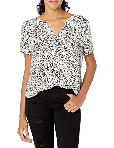 Amazon Essentials Kurzärmelige gewebte Bluse Dress-Shirts, Mini Leopard, US L (EU L - XL)