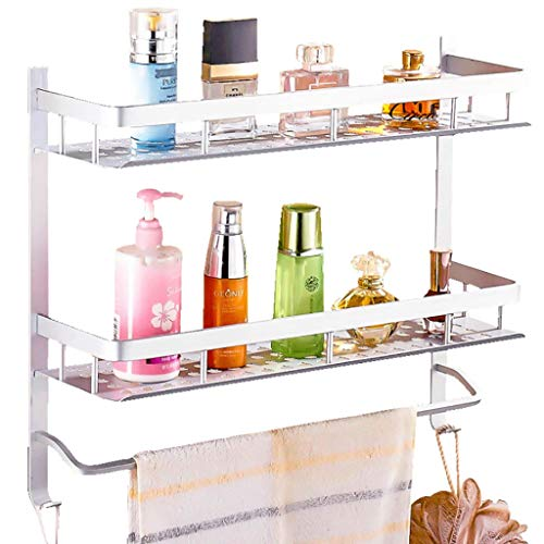 Wall Shelf Floating Shelf wandrek, 2 dieren, moderne aluminium wandmontage, badkamerrek, handdoekhouder, badkamerhanddoek, dubbele plank, opslagrail-houder, frame, badkamerrek, zwevende plank 60cm