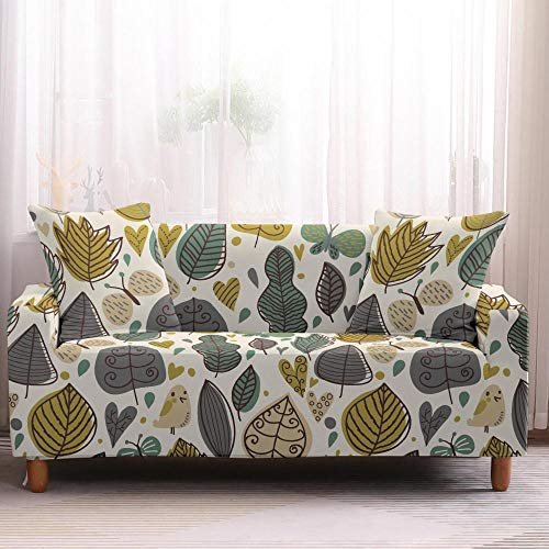 Protector de muebles con hojas florales para sofá, de elastano, para decoración del hogar, protector de muebles, elástico, 3 plazas, color 3