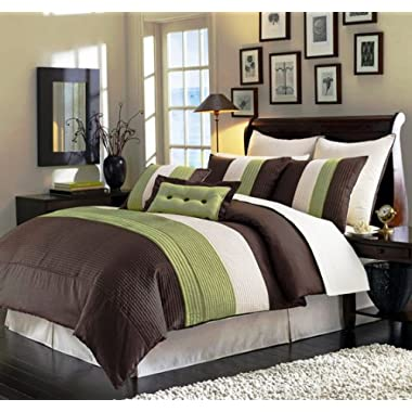 Chezmoi Collection 90 X 92-Inch 8-Piece Luxury Stripe Comforter Bed-in-a-Bag Set, Beige/Green and Brown, Queen