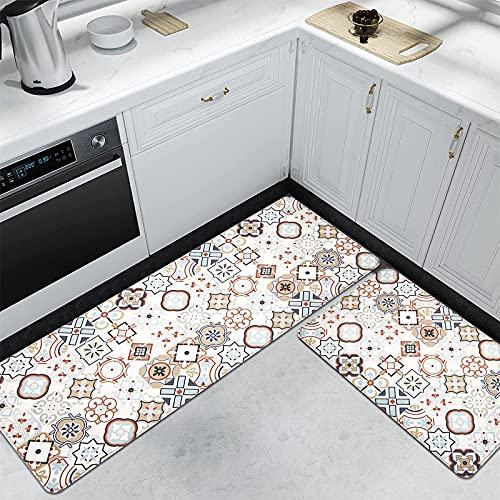Pauwer - Juego de 2 alfombras de Cocina Antideslizantes y Acolchadas, Impermeables y cómodas, Moderno, Bohemio, 17'x47'+17'x28'