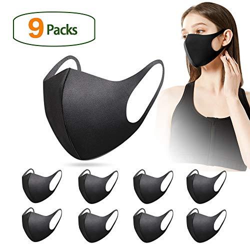 InnooCare - Pack de 9 bandanas unisex anticontaminación para la cara, reutilizables, para equitación al aire libre, pesca, ciclismo, etc. (negro)