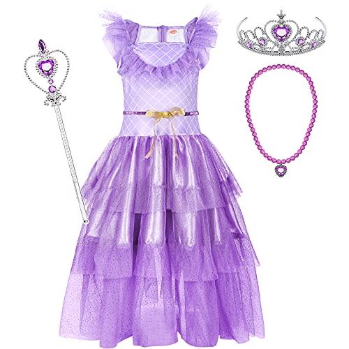 Tacobear Vestito Principessa per Bambina Ragazza Vestito Rapunzel con Corona Collana Bacchetta Costumi Principessa Festa Compleanno Carnevale Cosplay Abito (120cm, 5-6 Anni)