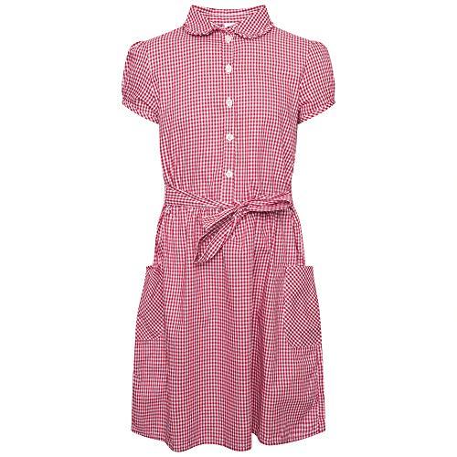 Girls School Gingham Dress Cotton Blend School Pleated Summer Dress Check...