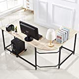 Hago Modern L-Shaped Desk Corner Computer Desk Home Office Study Workstation Wood & Steel PC Laptop Gaming...