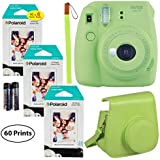 Fujifilm Instax Mini 9 Instant Camera (Lime Green), 3X Twin Pack Instant Film (60 Sheets), and Instax Groovy Case Bundle