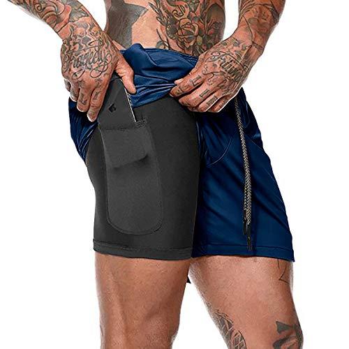 Rave on Friday Shorts Herren 2in1 Sporthose mit Tasch Sommer Kurze Hosen für Laufsport Fitness Joggen Gym Navy Blau M