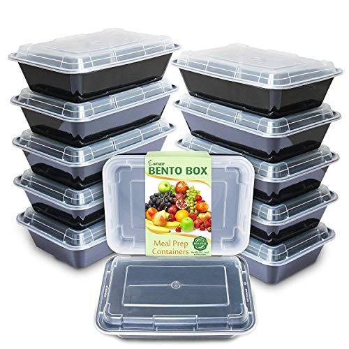 Enther Meal Prep Containers [12 Pack] Single 1 Compartment with Lids,Food Storage Bento Box | BPA Free | Stackable | Reusable Lunch Boxes, Microwave/Dishwasher/Freezer Safe,Portion Control (28 oz)