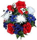 Admired By Nature GPB073-RD/WT/BL 18 Stems Rose, Red/White/Blue, Piece