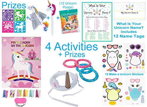 Unicorn Party Favors, Games & Activity Set for 12 Kids - 42 Pcs - Novelty Toys - Pin the Horn on the Unicorn & Ring Toss Game, My Unicorn Name Is (with Name Tags & Name Chart), Make a Unicorn Stickers and Prizes
