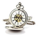 ManChDa® Hombres Steampunk Reloj de Bolsillo Plata Cazador de Doble Esfera Esqueleto con Cadena + Caja Regalo (1.Gold...