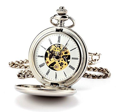 ManChDa® Hombres Steampunk Reloj de Bolsillo Plata Cazador de Doble Esfera Esqueleto...
