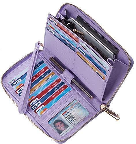 Chelmon Womens Wallet Leather RFID Blocking Purse Credit Card Clutch(CH Light Purple)