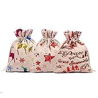 HooAMI 巾着袋 24枚入り 10x14cm 収納袋 亜麻 数字 貼り付け 和風 厚く リネン ラッピング袋 可愛い ジュエリーポーチ 飾り物パーツ 手作り ギフト DIY用品 プレゼント用 クリスマス お菓子など 収納