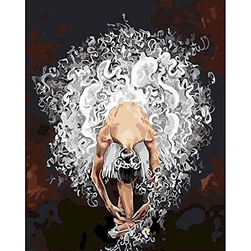 Pintura al óleo de bricolaje por números en lienzo bailarina pintura sin marco por números figura pintura digital decoración del hogar A13 30x30cm