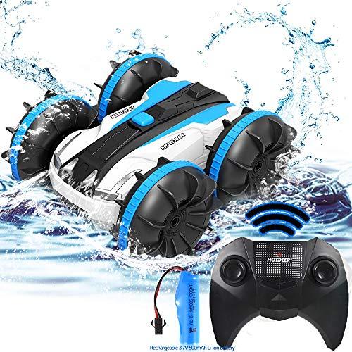 FSTgo Spielzeug für 5-12 jährige 2-in-1-Fernbedienungsboot Amphibische RC-Autos Geländewagen 4WD 2,4 GHz Landwasser RC-Spielzeugautos Wasserdichtes Stunt-Funkgerät mit rotierendem 360-Elektroauto