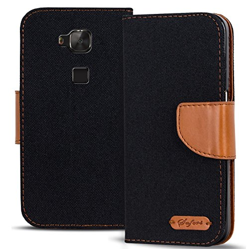 Verco Huawei G8 Hülle, Schutzhülle für Huawei GX8 Tasche Denim Textil Book Case Flip Case - Klapphülle Schwarz