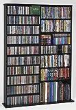 Leslie Dame High Capacity Oak Veneer Multimedia Storage Rack, Black