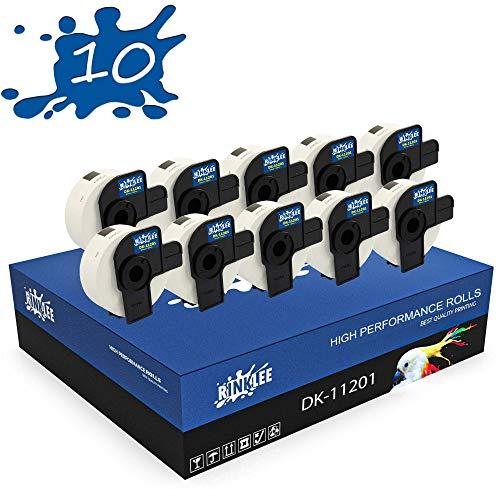 RINKLEE DK-11201 Etiketten kompatibel für Brother P-Touch QL-500 QL-550 QL-560 QL-570 QL-580 QL-700 QL-710W QL-720NW QL-800 QL-810W QL-820NWB QL-1060N QL-1100 QL-1110NWB | 29 x 90 mm | 10 Rollen