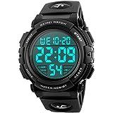 Men's Big Face Digital Sports Watch with Multifunction 50M Waterproof Alarm Stopwatch Calendar EL Backlight 12H/24H (Black)