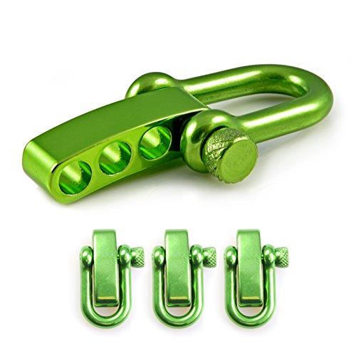 Manille droite réglable en acier avec un axe à visser simple à manier, manille en forme de U, manille ajustable, idéale avec les paracordes 550, confection de bracelets, grandeur: M, couleur: vert, de la marque Ganzoo – lot de 3 manilles