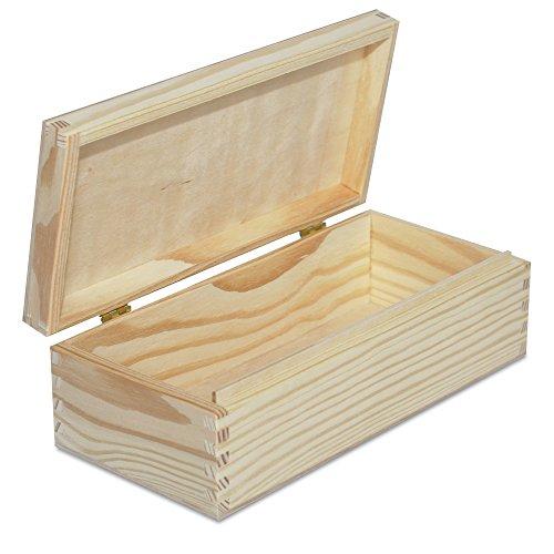 Creative Deco Petite Boîte de Rangement en Bois à Décorer | 24 x 11,3 x 7,2 cm | Caisse avec Couvercle | Non Peint | Parfait pour Stockage, Objets de Valeur, Jouets et Outils