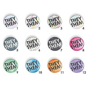 1 x Pronomen THEY/THEM Anstecknadel oder Kühlschrankmagnet, LGBTQ+ LGBT