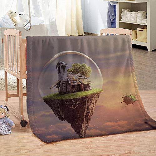 Gzjp Maison De Falaise Plaid Couverture Imprimée 3D Animal Réversible pour Canapé Et Lit Polyester Flanelle Super Doux pour Enfants Adultes130x150 cm