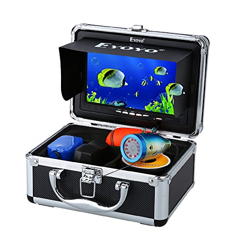 Eyoyo Portable 7 inch LCD Monitor Fish Finder Waterproof Underwater HD 1000TVL Fishing Camera 50m Cable 12pcs IR Infrared LED for Ice,Lake and Boat Fishing