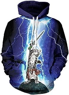 AXHSYZM Hoodies Thunder Cat Purple Starry Sky Digital Printing Unisex Autumn and Winter Loose Sweatshirts