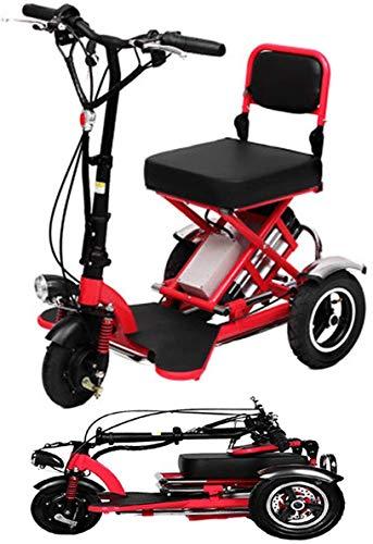 LUO Scooter Eléctrico, Mini Triciclo Eléctrico Plegable Scooter Eléctrico de Litio para...