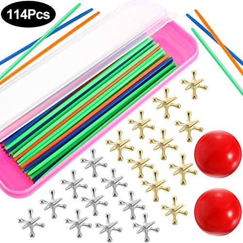 Pack of 12 Metallic Jacks and Bouncy Ball Set Game Prizes Perfect as Party Favors Halloween Easter Birthday Parties Loot Bag Fillers Metal Jacks Set Kids Activities