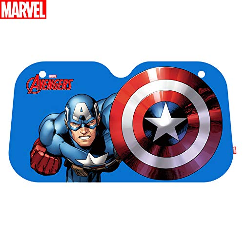 TinPlanet Marvel Avengers Car Windshield Sunshade, Accordion Bubble Front Auto Car Windshield Sun Shade Folding Sun Visor, Captain America