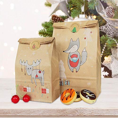 mooderff Adventskalender Zum Befüllen, 12 Kraftpapiertüten Geschenktüten Weihnachten Mit Weihnachtlichen Aufklebern, DIY Verpacken Papiertüten