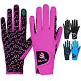 ECLOUR Kids Horse Riding Gloves-Non Slip Silicone Grip and Finger Touch Design for Multiple Activities Like Biking, Cycling, Running, Gardening for Boys and Girls (Black/Pink, Age 8-10 Years)