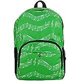 Punk Oxford-Rucksack mit Musiknoten-Druck für die Schule, stilvoller Kunstrucksack, Reiseumhängetasche Musical notes patterns green
