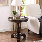 Roundhill Furniture Rene Round Wood Pedestal Side Table, Espresso