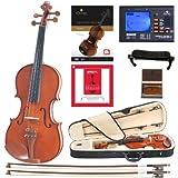 Cecilio CVN-200 Violine aus Massivholz mit D'Addario Prelude Saiten (Größe 4/4)