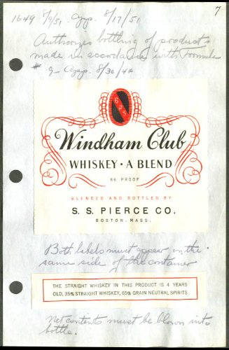 Windham Club Whiskey A Blend label S S Pierce 1951