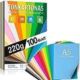 100 fogli di carta colorata CARTONE DIN A5 220g set 20 colori - carta artigianale spessa, fogli colorati - cartone per bambini, fogli fai-da-te, accessori in cartoncino - MADE IN GERMANY
