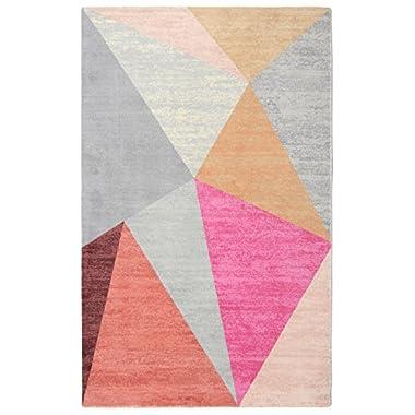 Rugsmith  Pyramid Mid-Century Geometric Area Rug, 5' x 7', Pink