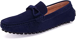 XinQuan Wang Driving Loafer for Men Boat Moccasins Slip On Style Suede Leather Simple Pure Color British Style (Color : Blue, Size : 7 UK)