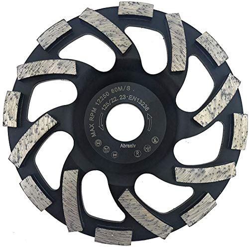 PRODIAMANT professionele diamant-slijppppan schuurpan, asfalt, gips, abrasieve bouwmaterialen passend haakse slijper, 125/22,23mm, zwart