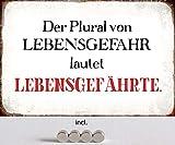 Blechschild 20x30cm gewölbt incl. 4 Magneten Der Plural von Lebensgefahr Humor Sprüche Deko Geschenk Schild