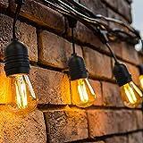 39 Meter LED Lichterkette Außen,[Neue Version]OxyLED S14 Lichterkette Glühbirne LED Retro, IP65 Wasserdicht,40X1W LED Birnen Warmweiß 2500K Beleuchtung für Innen und Außen Deko Garten Hochzeit