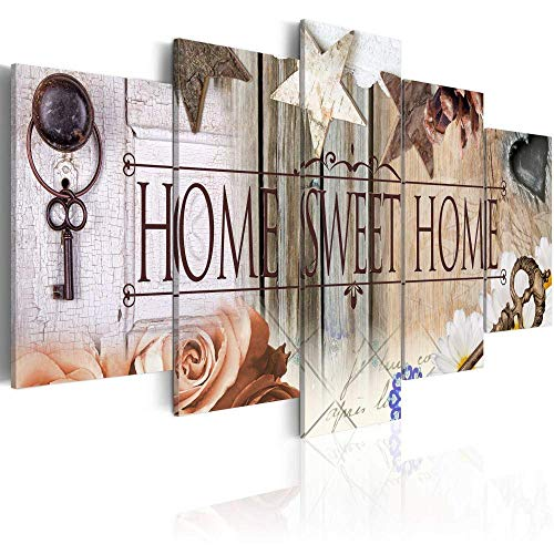 Canvas Art Design - Home Sweet Home Painting Rustic Vintage Canvas Print Abstract Wall Art Home Office Decor 5 Panels (A, Over Size 60''x30'')
