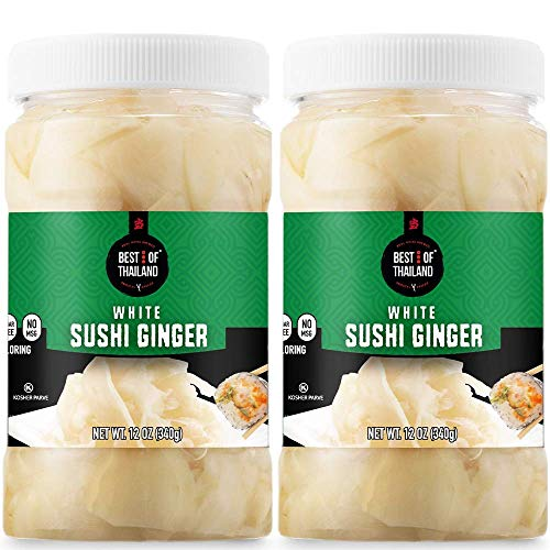 Best of Thailand Japanese White Pickled Sushi Ginger | Fresh Sliced Young Gari Ginger in All Natural, No Coloring Sweet Pickle Brine | Fat Free, Sugar Free, No MSG, Certified Kosher | 2 Jars of 12oz