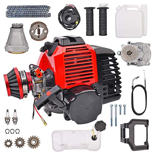 49cc 2 Stroke Pull Start DIY Engine Motor W/Gear Box Assembly Replacement for Pocket Mini Pit Dirt Bike ATV Quad Scooter 20T T8F Chain