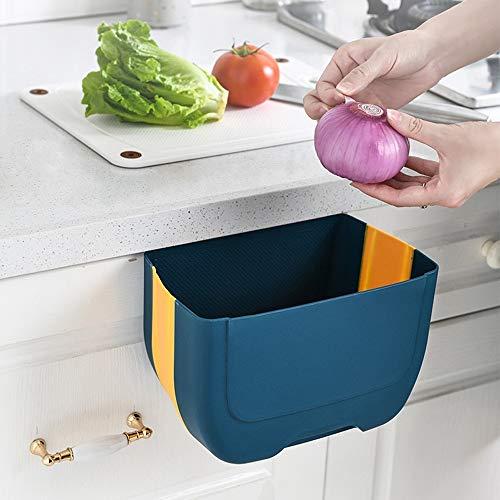キッチンゴミ箱 折り畳みゴミ箱 おしゃれ 台所 コンパクト 省スペース ごみばこ 5L 折りたたみキッチンごみ箱 リビングルーム トイレ 浴室 車載用 高耐荷重 PP+TPE製 多機能(青い)